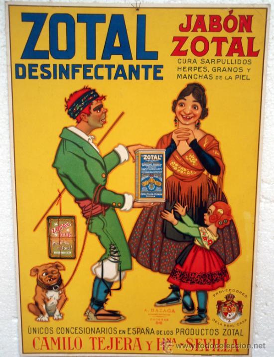 Cartel carton publicidad jabon zotal 1925 con c comprar - Carteles publicitarios antiguos ...