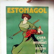 Carteles Publicitarios: CARTEL PUBLICIDAD, ESTOMAGOL , FARMACIA ,REUS TARRAGONA, ILUSTRADO POR NUALART, SIGLO XIX , ORIGINAL. Lote 34094649