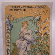 Carteles Publicitarios: CARTEL DE BONAVENTURA CASAS DE VALLS (1861-1907). TEJIDOS MERCE Y SALA DE MOYA / MOIA. Lote 34424750
