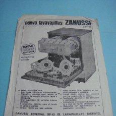 Carteles Publicitarios: PUBLICIDAD. ANUNCIO PUBLICITARIO DE LAVAVAJILLAS ZANUSSI, 21 X 15 CM. IBELSA. . Lote 35052719