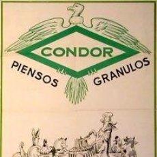 Carteles Publicitarios: CARTEL CONDOR PIENSOS GRANULADOS.1960.HERNANZ.55X80 CM.. Lote 35192785