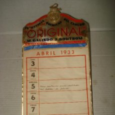 Carteles Publicitarios: ANTIGUO CARTEL CALENDARIO *ORIGINAL* IND. QUIMICAS DEL CAUCHO . M. GALINDO J. BOUTROM DEL AÑO 1933. Lote 36011344