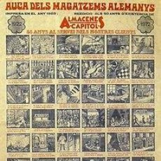 Carteles Publicitarios: CARTEL AUCA DELS MAGATZEMS ALEMANYS 1922-1972. BARCELONA. 37X54. Lote 36151854