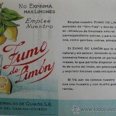 Carteles Publicitarios: DIPTICO PUBLICITARIO DE ZUMO DE LIMÓN IGNACIO BERNALDO DE QUIRÓS, S. A., MIERES DEL CAMINO. Lote 176877060