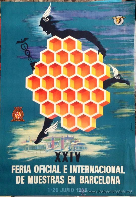 CARTEL BARCELONA 1956. FERIA DE MUESTRAS. 70X100CM DE ÉPOCA. PUBLICIDAD (Coleccionismo - Carteles Gran Formato - Carteles Publicitarios)