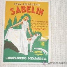 Carteles Publicitarios: SABELIN PARA ADELGAZAR LABORATORIOS SOKATARG. Lote 37416206
