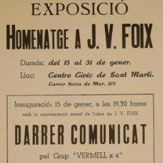 Carteles Publicitarios: CARTEL EXP. HOMENATGE A J. V. FOIX. Lote 37631538