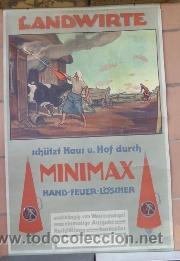 Carteles Publicitarios: interesante cartel publicitario del extintor miniMax -años 50 aproxmte aleman landwirte HOLLERBAUM - Foto 3 - 38734647