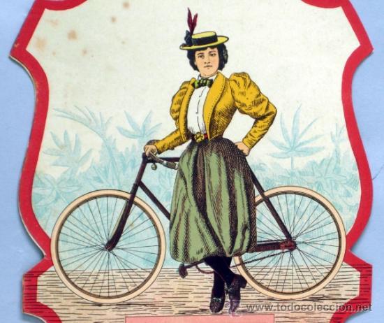 Carteles Publicitarios: Cartel troquelado papel dama bicicleta y caballero velocípedo para publicidad PP s XX - Foto 2 - 268617929