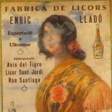 Carteles Publicitarios: CARTEL FABRICA DE LICORS ENRIC LLADÓ. Lote 38330817