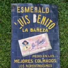 Carteles Publicitarios: CHOCOLATES CARAMELOS BOMBONES LUIS BENITO LA BAÑEZA AÑOS 20 MIDE 41X23. Lote 38584258