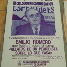 Carteles Publicitarios: ANTIGUO CARTEL,CHARLA DE EMILIO ROMERO EN JAEN. Lote 39026189
