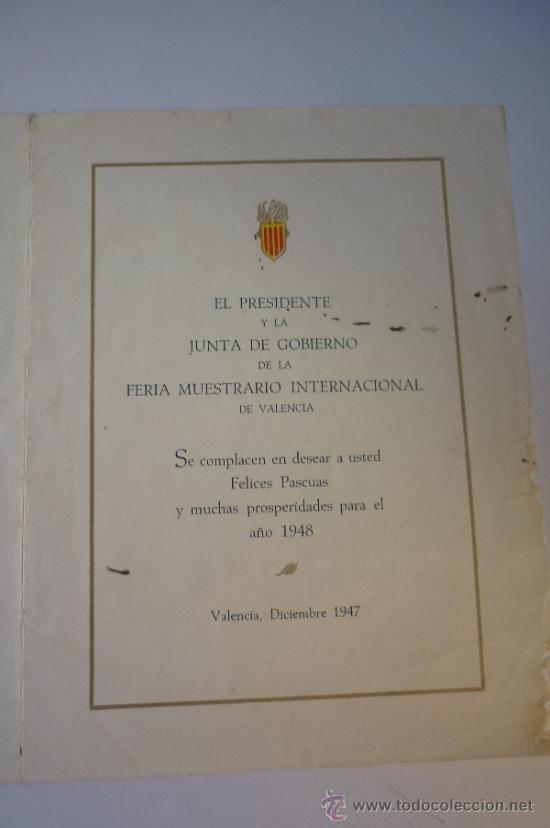 Carteles Publicitarios: FERIA MUESTRARIO INTERNACIONAL DE VALENCIA 1947. FELICITACIÓN NAVIDEÑA. EL DE LA FOTO - Foto 2 - 39027946