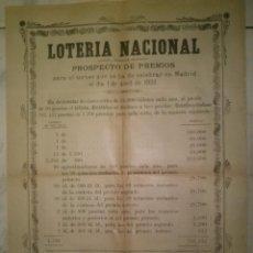 Carteles Publicitarios: CARTEL DE PREMIOS DE LOTERIA NACIONAL SORTEO EN MADRID EL 1 DE ABRIL DE 1922. Lote 39317585