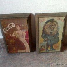Carteles Publicitarios: 2 ANTIGUOS CARTELES DE COCA COLA Y CAFE LION, IMPRESOS EL AÑO 1976 SOBRE TABLERO.. Lote 40301930