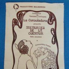 Carteles Publicitarios: CARTEL PUBLICITARIO PRODUCCIONES MALVARROSA VALENCIA 1977, LA CONSOLADORA MEMÒRIES DE LA COENTOR,. Lote 40549420