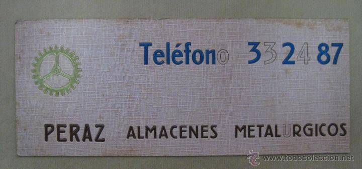 CARTON DURO PUBLICIDAD PERAZ ALMACENES METALURGICOS - AÑOS 1950-60 (Coleccionismo - Carteles Gran Formato - Carteles Publicitarios)