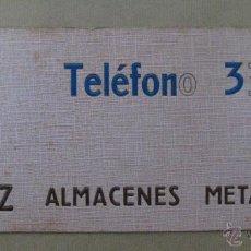 Carteles Publicitarios: CARTON DURO PUBLICIDAD PERAZ ALMACENES METALURGICOS - AÑOS 1950-60. Lote 40970004