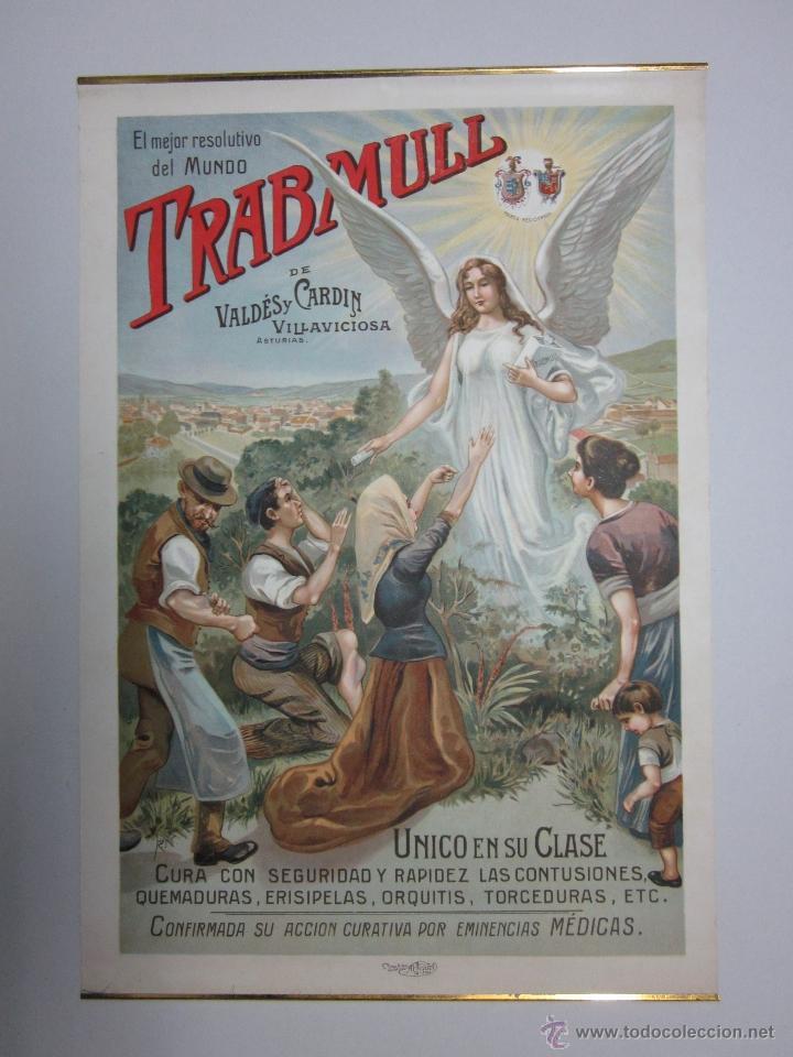 CARTEL PUBLICITARIO - TRABMULL - FARMACIA - VILLAVICIOSA ASTURIAS - MIDE 43 X 63 CM. (Coleccionismo - Carteles Gran Formato - Carteles Publicitarios)