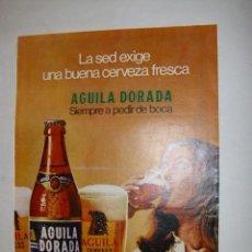 Carteles Publicitarios: HOJA PUBLICITARIA CERVEZA AGUILA DORADA (1) - TAMAÑO 26 X 33 CM. APROX. Lote 41273949