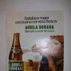 Carteles Publicitarios: HOJA PUBLICITARIA CERVEZA AGUILA DORADA (2) - TAMAÑO 26 X 33 CM. APROX. Lote 41273961