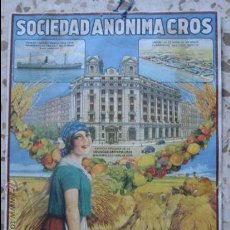 """Affissi Pubblicitari: CARTEL PUBLICIDAD """"SOCIEDAD ANONIMA CROS"""" FIRMADO TUSELL. Lote 36282604"""