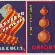 Carteles Publicitarios: ETIQUETA CARTEL CEBOLLAS CASTILLO BROTHERS VALENCIA.. Lote 42806921
