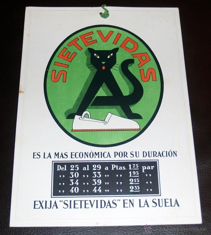 CARTEL PUBLICITARIO, CARTON DURO, SIETE VIDAS, CALZADOS, 33X22... MUY CURIOSO (Coleccionismo - Carteles Gran Formato - Carteles Publicitarios)
