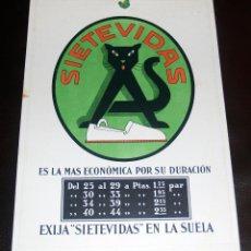 Carteles Publicitarios: CARTEL PUBLICITARIO, CARTON DURO, SIETE VIDAS, CALZADOS, 33X22... MUY CURIOSO. Lote 42987987