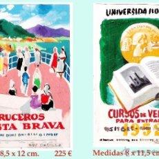 Carteles Publicitarios: REY PADILLA, SEBASTIAN, BOCETOS ORIGINALES, ACUARELAS DE PUBLICIDAD COSTA BRAVA Y SITGES. FIRMADOS.. Lote 44125874