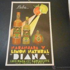 Carteles Publicitarios: NARANJADA Y LIMON NATURAL DIANA - DISPLAY PUBLICITARIO ORIGINAL - TAMAÑO 42 X 27 CMS. Lote 44136232