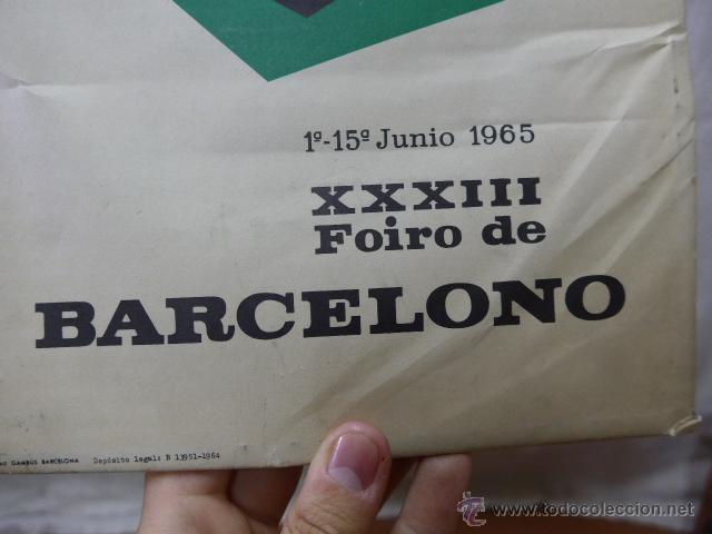 Carteles Publicitarios: Cartel expositor de feria de muestras de Barcelona, 1964, en portugues - Foto 3 - 44554699