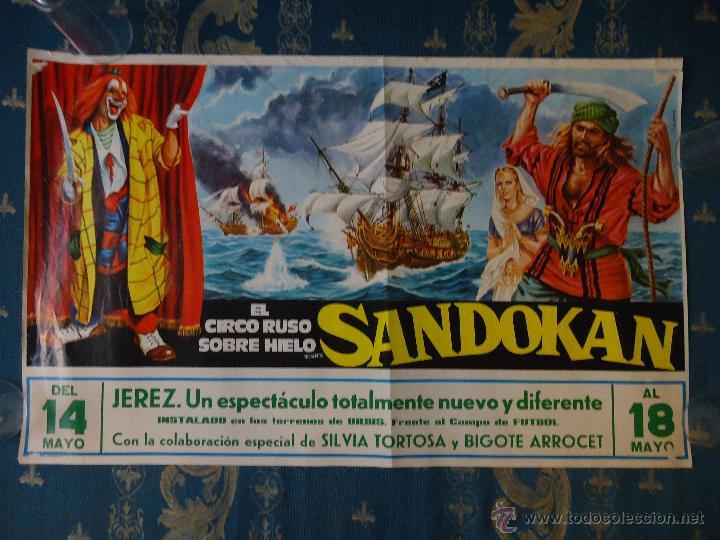 MAGNIFICO CARTEL CIRCUO RUSO SOBRE HIELO, SANDOKAN JEREZ CADIZ 1977 - 69 X 42,5 CM (Coleccionismo - Carteles Gran Formato - Carteles Publicitarios)