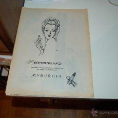 Affissi Pubblicitari: HOJA PUBLICITARIA DE LÁPIZ DE LABIOS ROJO EMBRUJO, DE MYRURGIA. 1967. PEDIDO MÍNIMO: 4 HOJAS. Lote 45278591