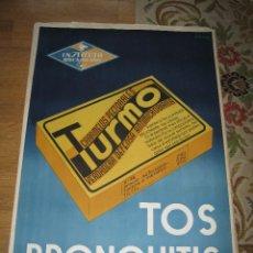 Carteles Publicitarios: GRAN CARTEL DE CARAMELOS TURMO, INSTITUTO ROCASOLANO. Lote 178070472