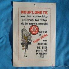 Carteles Publicitarios: PUBLICIDAD DE MOUFLONETE JLK MODA INVIERNO AÑO 1929 ..... VER . Lote 47287781
