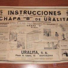 Carteles Publicitarios: GRAN CARTEL PUBLICIDAD. URALITA S.A. BARCELONA. INSTRUCCIONES CHAPA DE URALITA. -DOCE-. Lote 47333982