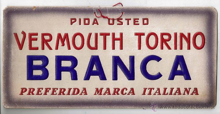 cartel publicidad decoracion bar vermouth torino branca italiana letra relieve carton