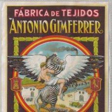 Carteles Publicitarios: CARTEL PUBLICIDAD FABRICA DE TEJIDOS ANTONIO GIMFERRER BARCELONA. I. G. CANTIN CEBRA DECORACION (30). Lote 48224089