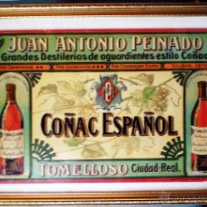 Carteles Publicitarios: CARTEL ORIGINAL DE COÑAC ESPAÑOL , TOMELLOSO - CIUDAD REAL , CARTON 33 X 22 CM. ENMARCADO. ORIGINAL.. Lote 48325868