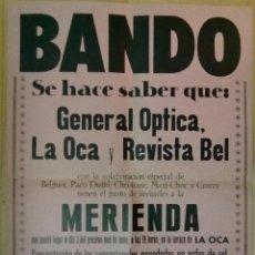 Carteles Publicitarios: CARTEL EN CARTULINA MERIENDA EN LA OCA BARCELONA 1971 GENERAL OPTICA 50 X 30 CM (APROX). Lote 48380122