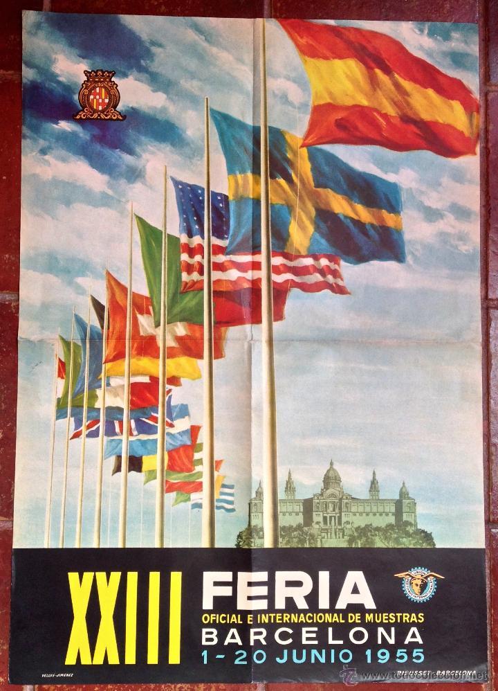 CARTEL PUBLICIDAD XXIII FERIA OFICIAL INTERNACIONAL DE MUESTRAS CONGRESO1955 BARCELONA VINTAGE (50) (Coleccionismo - Carteles Gran Formato - Carteles Publicitarios)