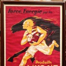 Carteles Publicitarios: CARTEL PUBLICIDAD FORCE ENERGIE PAR LES PRODUITS LAVOCAT ALIMENTOS LYON RUGBY CABALLO FRANCE PARIS. Lote 48619945