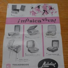 Carteles Publicitarios: ANTIGUO CARTEL PUBLICIDAD DE TOCADISCOS, TOCADISCO MUSICA, PUBLICITARIO. Lote 48680395