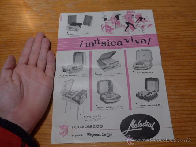 Carteles Publicitarios: Antiguo cartel publicidad de tocadiscos, tocadisco musica, publicitario - Foto 3 - 48680395