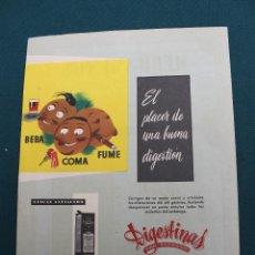 Carteles Publicitarios: PUBLICIDAD ANTIGUA INSTITUTO FARMACOLOGICO 1954 MADRID, GIGESTINAS, BEBA, COMA, FUME. Lote 48864147