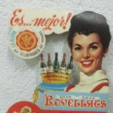 Carteles Publicitarios: CARTEL DE CARTON TROQUELADO DEL CAVA ROVELLATS DE CAVAS VALLÉS ROVIRA. Lote 49344234
