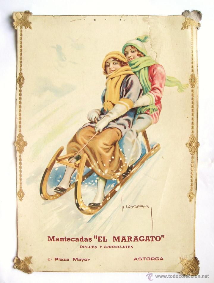 CARTEL TROQUELADO PUBLICIDAD DE MANTECADAS DULCES Y CHOCOLATES EL MARAGATO ASTORGA LEON AÑOS 30 RARO (Coleccionismo - Carteles Gran Formato - Carteles Publicitarios)