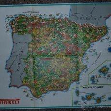Carteles Publicitarios: CARTEL PUBLICITARIO , MAPA DE ESPAÑA ,NEUMATICOS PIRELLI , SEIX BARRAL 1969 88 X 68 CM IMPECABLE. Lote 50064590