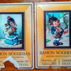 Carteles Publicitarios: LOTE DOS CARTELES PUBLICITARIOS DE GESTORÍA NOGUERAS, DE GRANADA. AÑOS 50. MEDIDAS 33X23. Lote 50140104